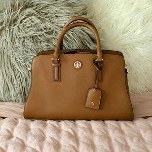 • TORY BURCH double zipper tan leather HANDBAG